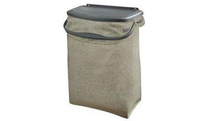hidden recycling bin hangs from cupboard door