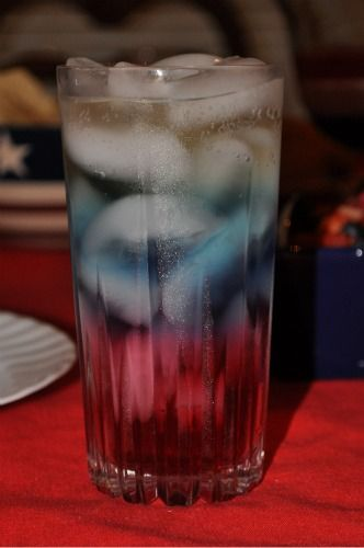 Red, white & blue drink.  The trick is to pour the drinks slowly over the ice so they don't mix.  Also, layer in order of the drink with the most sugar.  The most sugar goes at the bottom, next layer less sugar, top layer least sugar.  This particular drink consists of Canberry juice, Blue Gatorade and Ginger Ale.  Salute!