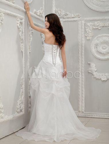 Vestido de boda blanco de organdí sin tirantes con diamante de imitación y escote de corazón-No.4
