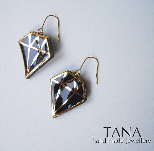 Tana šperky - keramika/zlato, čierne diamanty