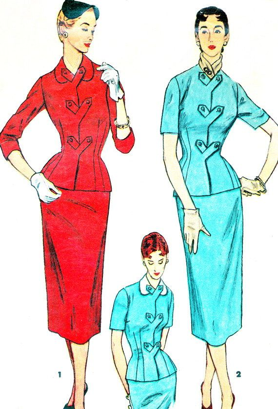 1950s Dress Pattern Simplicity 4781 Two Piece Dress by paneenjerez, $18.00