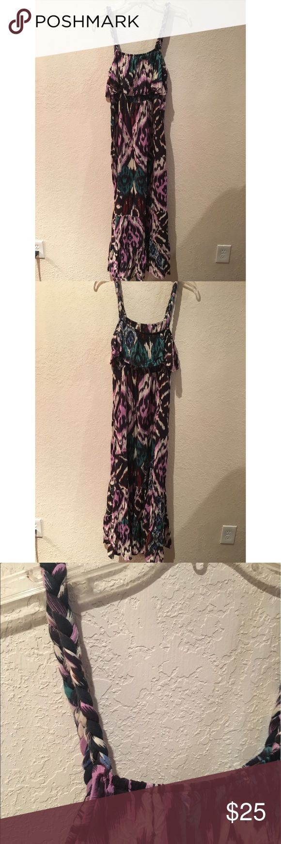Purple, Blue, Cream Maxi Dress with Rope Straps Beautiful dress! Worn once. Rope detailed straps. So flattering! Dresses