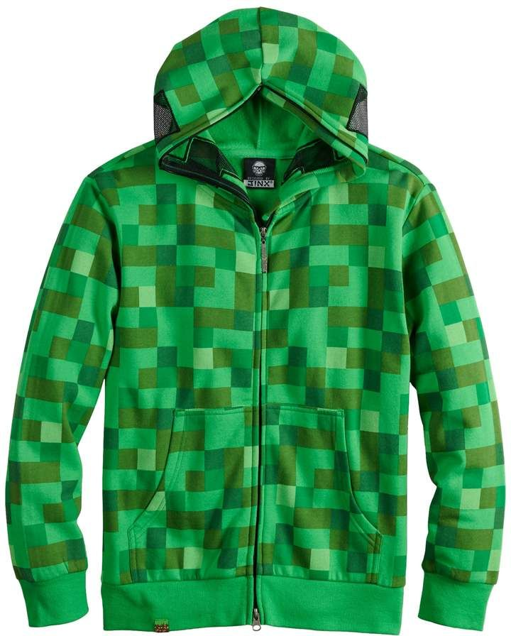 Boys 820 minecraft creeper fullzip hoodie