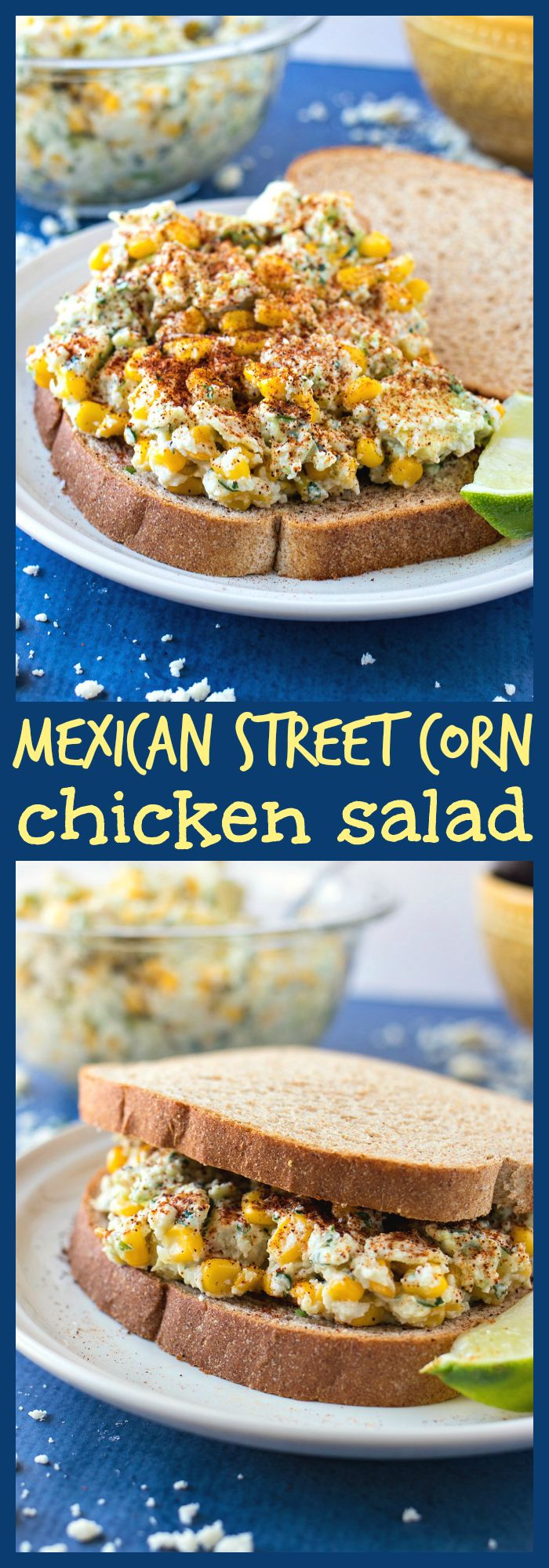 Mexican Street Corn Chicken Salad – All the flavors of Mexican Street Corn are mixed with chopped chicken breast and Greek yogurt to make a flavorful chicken salad that can be eaten as a sandwich or by itself. #ad #HispanicHeritageMonth @krogerco @AvosFromMexico @caciqueinc