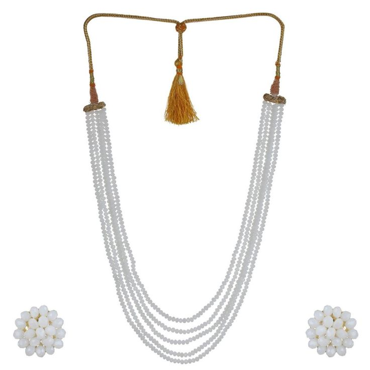 Beautiful Bollywood Five Layer White Color Crystal Beads Necklace Earrings Set  | eBay