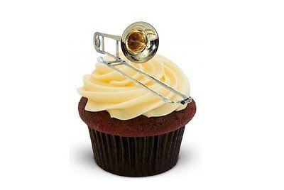 TROMBONE 12 STAND UPS Edible Image Cake Toppers musical instrument Brass Band