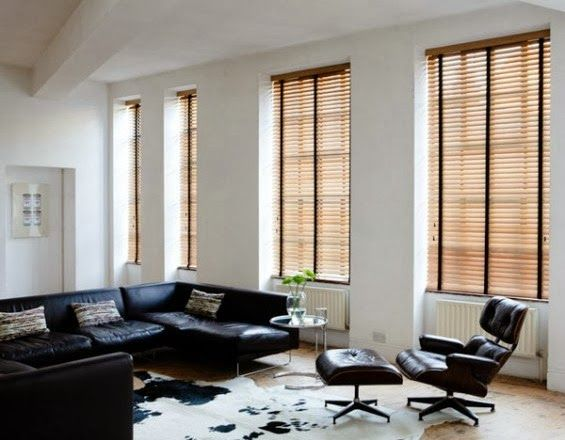 Get this look in your home. Wood blinds with black tape. #blinds #woodblinds #shades #customwindowcoverings #windowtreatments