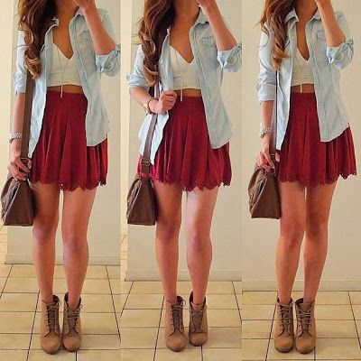 Jean button up with a skirt