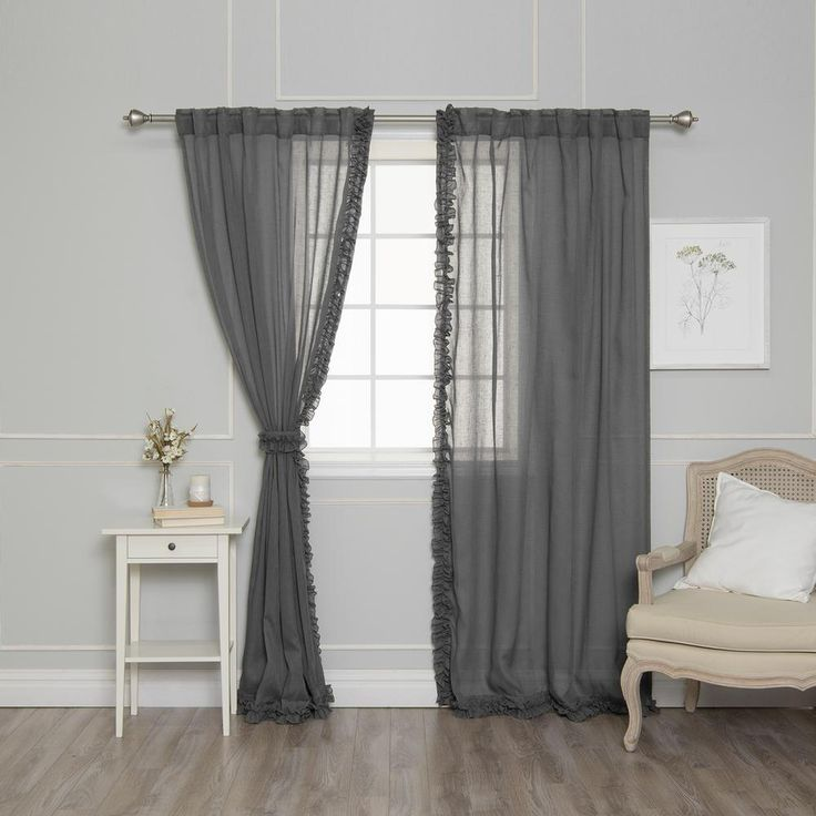 Best Home Fashion 84 In. L Dark Grey Faux Linen Charleston
