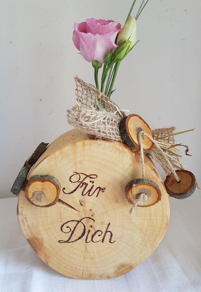 Holzvase Vase Baumscheibe Haselnuss Deko Holz Natur Tischdeko