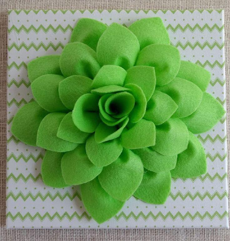 3D Felt Flower Canvas Art Custom Felt Flower Canvas Art Felt Art Girls Canvas Decor Green and White Chevron Wall Art by TheBrickCottage on Etsy