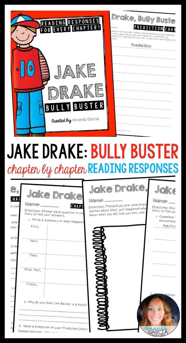 Students love Jake Drake! The activities in this novel study take your readers through each chapter of Jake Drake: Bully Buster! The reading responses are aligned to the Common Core, fun, rigorous, and easy to implement in your elementary classroom! Use them small group, whole group, with reader's notebooks, and in literature circles.