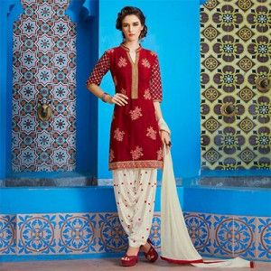 Red - Off White Patiala Suit