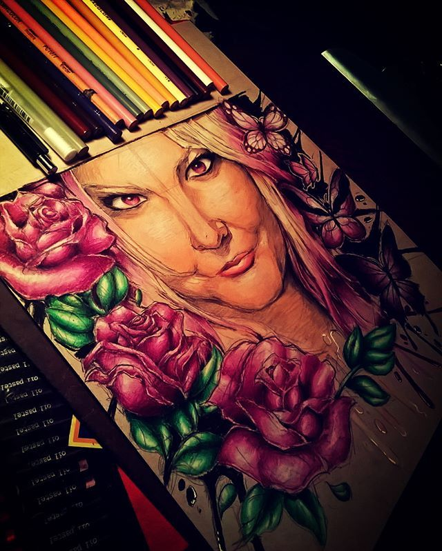 Portrait of my girlfriend and best friend <3 this first portrait I drew in color. Next one is gonna be stranger things portrait. #beautiful #beauty #portrait #portraitdrawing #instaart #colorpencils #pencils #art #strathmore #prismacolor #tonedtanpaper #sketchbook #pencilart #instaartists #rose #roses #butterfly #butterflies #drawing