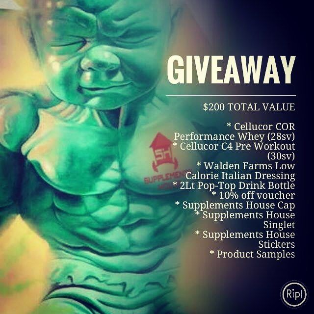 GIVEAWAY   $200 in value   This package is up for grabs !!! - Cellucor COR Performance Whey (28sv) - Cellucor C4 Pre Workout (30sv) - Walden Farms Low Calorie Italian Dressing - 2Lt Pop-Top Drink Bottle - 10% off voucher - Supplements House Cap - Supplements House Singlet - Supplements House Stickers - Product Samples  To enter:  Like our Page  Like this post  Tag 3 friends  Entries close 30th June. protein and pre workout flavours can be chosen from available stock at time of winner…