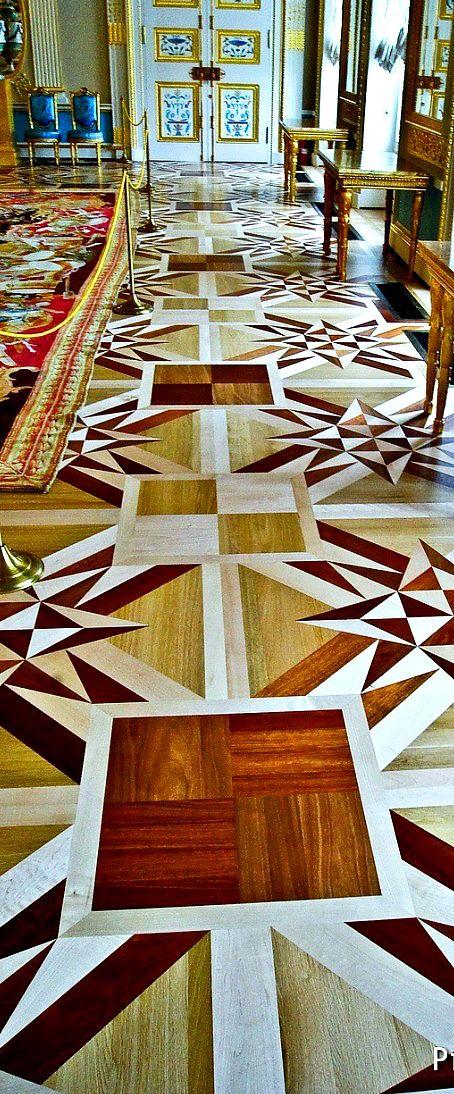THE ROMANOVS RESIDENCES ~ Wooden floor design in Catherine II  Palace in Pushkin, Tsarskoye Selo, the 18th century