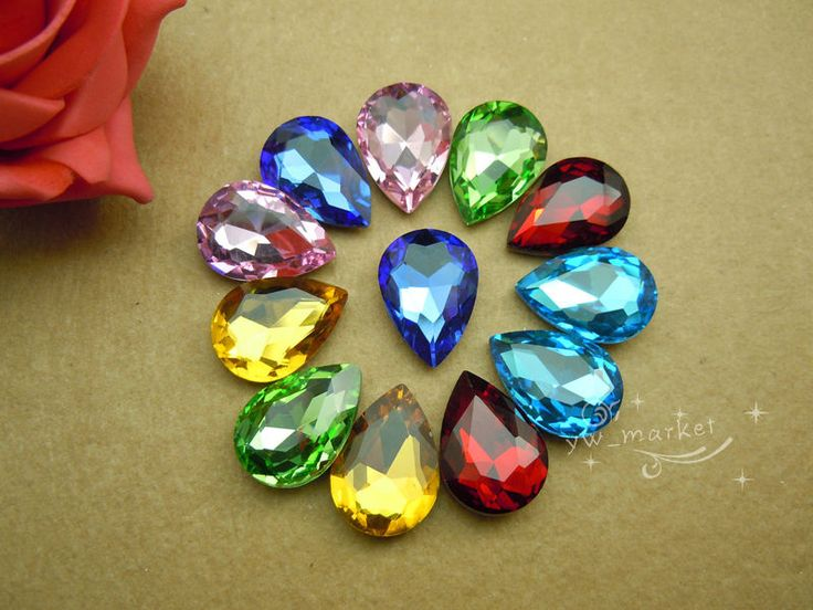50 PCS 18mm x 25mm Glass Clear/AB Tear Drop Faceted Glass Jewels #Unbranded #Faceted