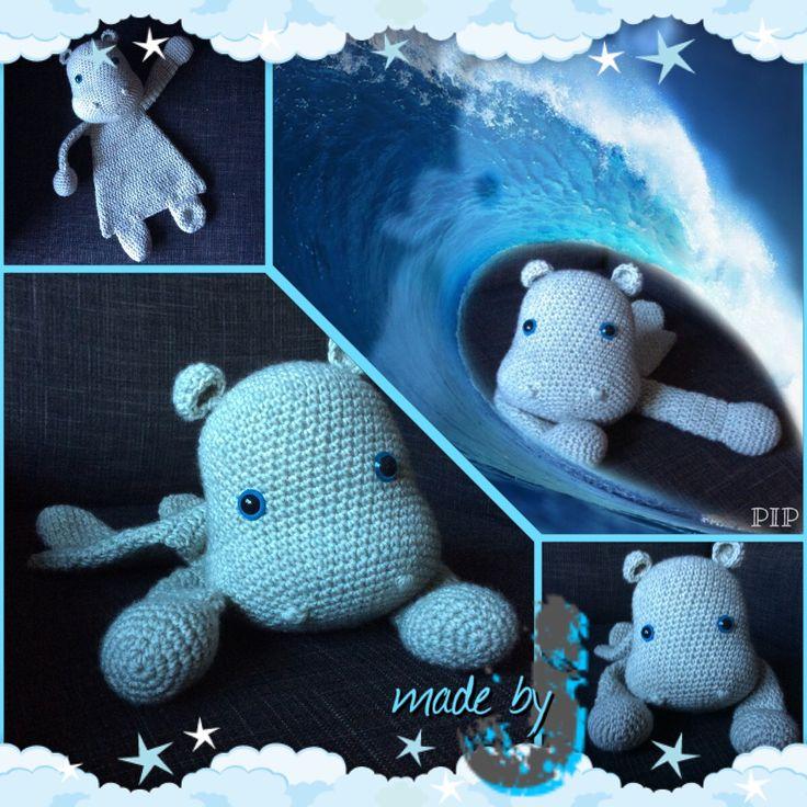 Hippio de hippo lief en mer zeer hoog knuffel gehalte!! Patroontje van alaSacha.