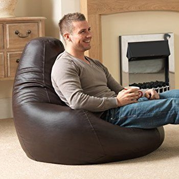 Bean Bag Bazaar Designer Recliner Gaming Slate Grey Indoor Outdoor Beanbag Chair