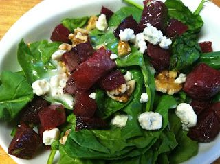 Spinach & Roasted Beet Salad . . .  Plenty of nutrients in this end-of-the season salad — it's perfect for Fall! Add as much or as little of each ingredient as you prefer.