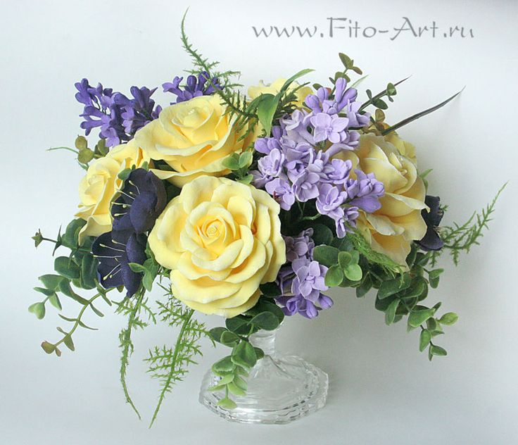 Bouquet of Yellow Roses with Lilac - Fito-Art.ru