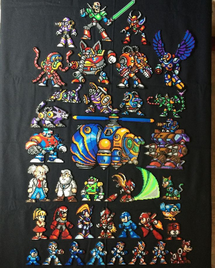 Megaman collection mini hama beads by victormvr