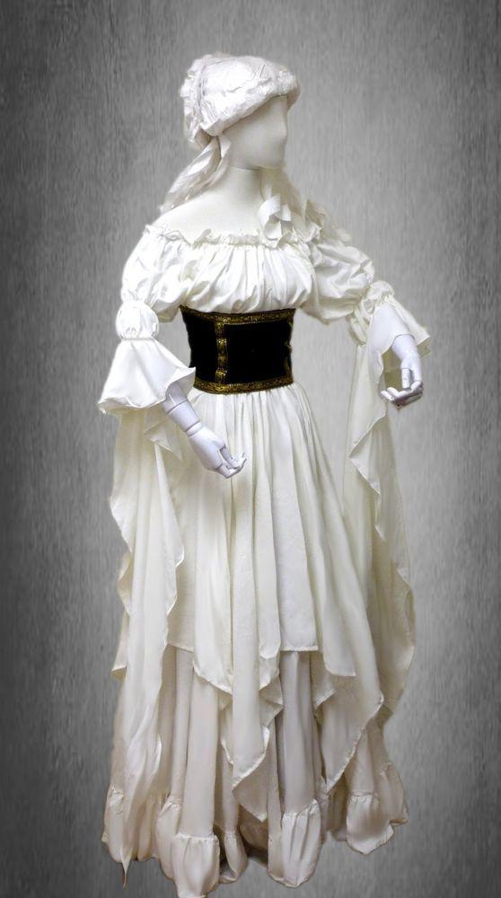 Renaissance Medieval Peasant Pirate Fairy Sorceress Cuff 2-piece Cream Dress