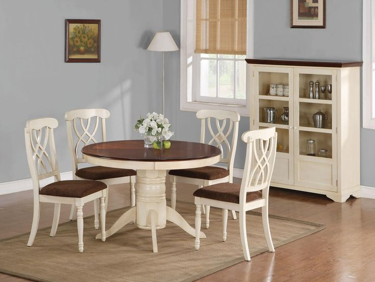 addison fivepiece round single pedestal dining table with doublewaved xback side chairs set by coaster dreamhome furnishings dining 5 piece set - Kitchen Table And Chair Sets