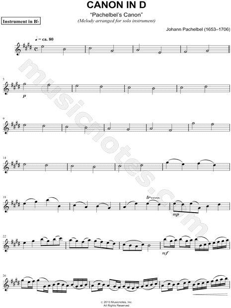 "Johann Pachelbel ""Canon in D"" Sheet Music (Trumpet, Clarinet, Soprano Saxophone or Tenor Saxophone) - Download & Print"