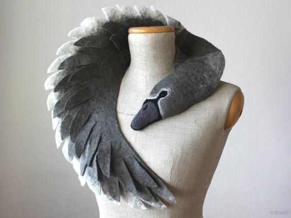 Ugly Duckling - Grey Swan (dark version) - felted wool animal scarf, stole…