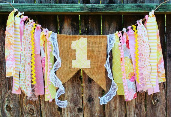 Pink Lemonade & Sunshine Highchair Banner  by CheekyPlumParties, $29.00