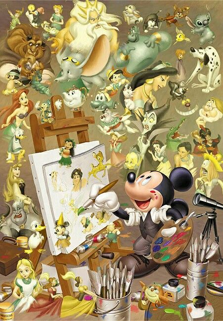 It's funny becuase Walt Disney is the original voice of Mickey and Mickey is making everything