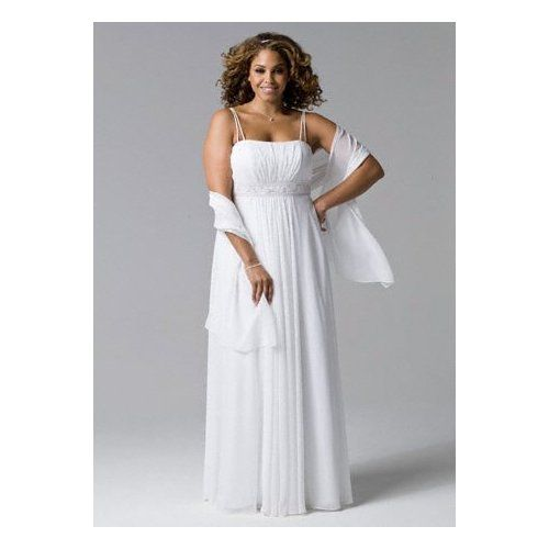 Wedding dress spaghetti strap chiffon a line with front for Spaghetti strap wedding dress with pockets