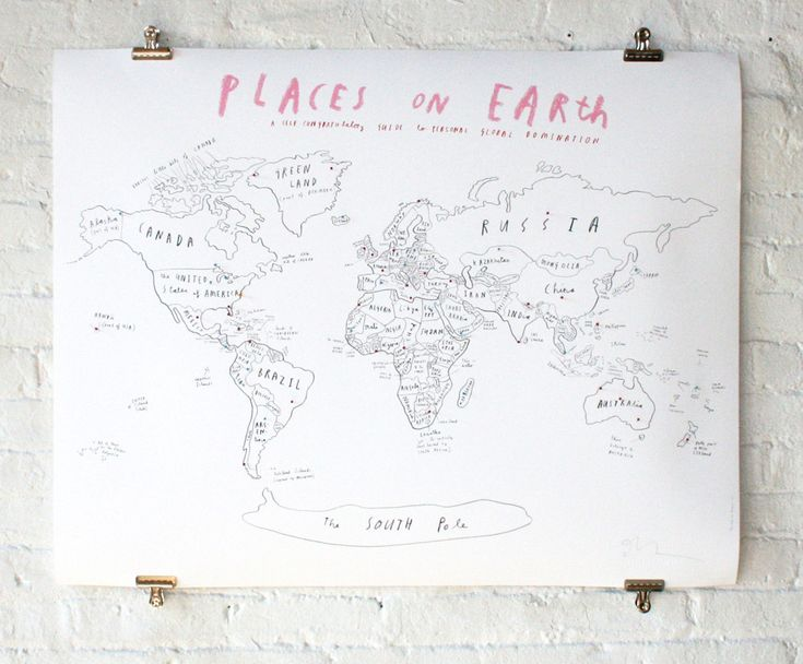 World map + pins   Oliver Jeffers