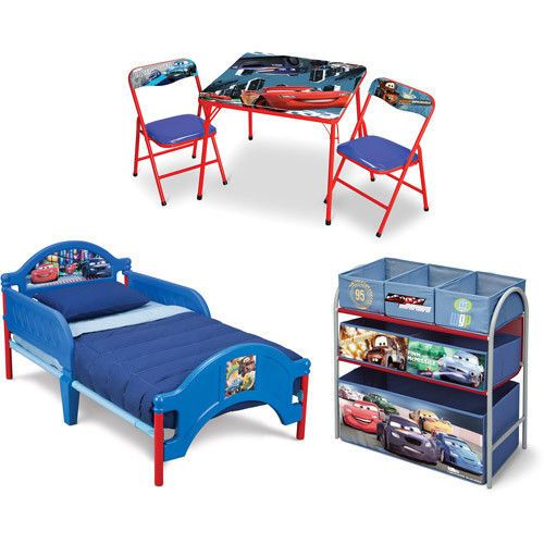 Toddler Bed Disney Cars 3 Piece Room Set Lightning McQueen Toy Box Kids  Table #