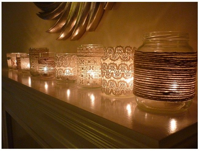 Vintage Votives - Old jam jars, mason jars - Wrap with vintage lace/ twine (glue or Mod Podge) - Add candle.