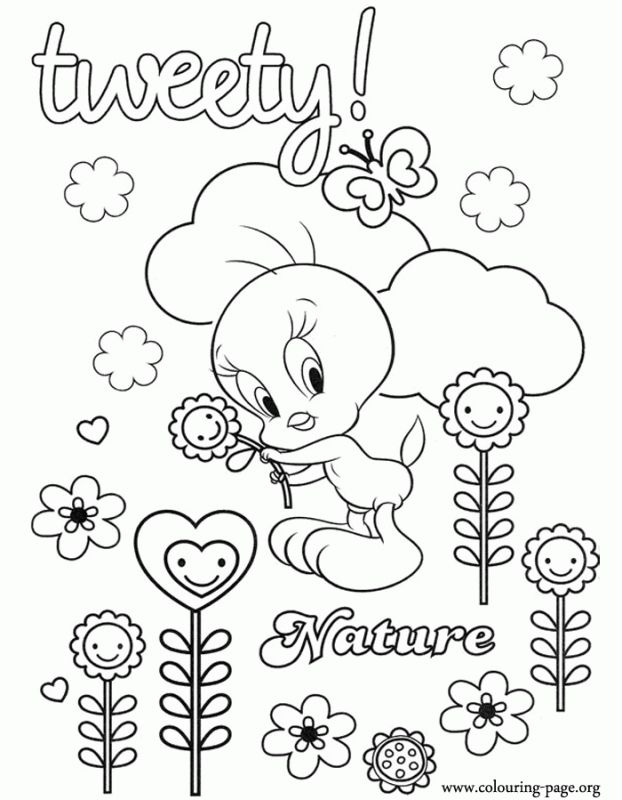 cute girl coloring pages of tweety bird printable