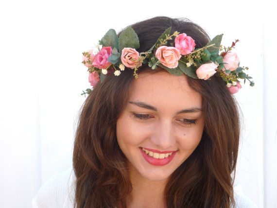 Pink roses Flower Crown Floral Headbandwedding by BlackSwanFeather