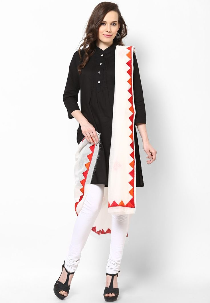 Off White Embroidered Dupatta $106.40 (24% OFF) https://www.dollyfashions.com/vedanta-off-white-embroidered-dupatta-3000481365.html