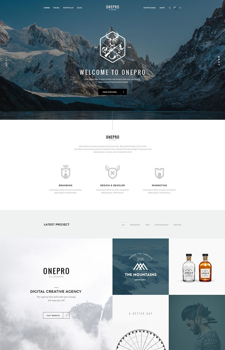 OnePro Creative Photoshop PSD Site Template Design