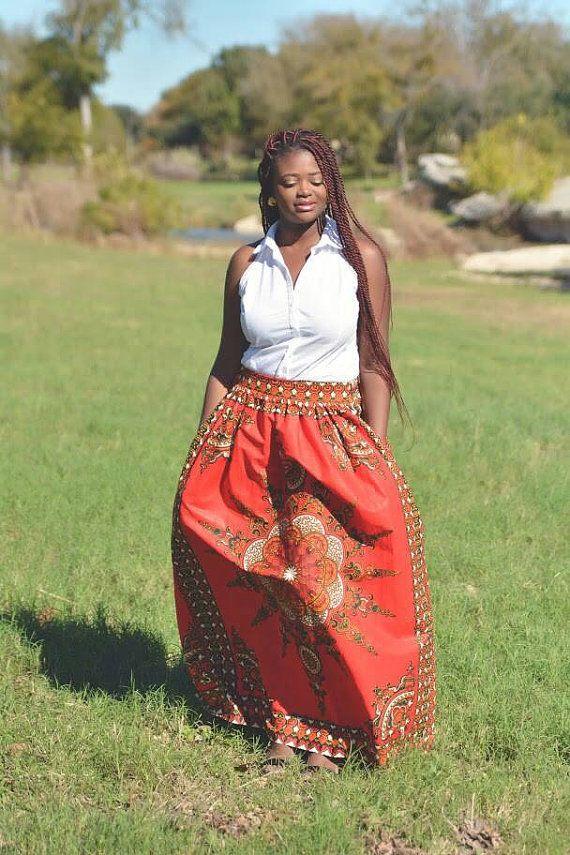 Red Star Dashiki Maxi Skirt African Clothing by MsAlabaAfricanShop