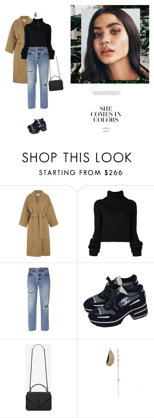 """""""Untitled #2202"""" by yenybarriot on Polyvore featuring Loewe, IO Ivana Omazić, RE/DONE, Chanel, Yves Saint Laurent and E L L E R Y"""