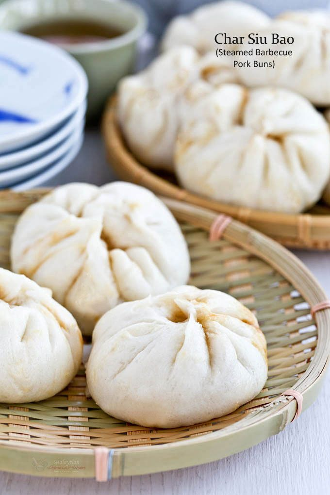 Soft, white, fluffy, delectable Char Siu Bao (Steamed Barbecue Pork Buns) are a perennial favorite. They are the perfect snack any time of the day.   MalaysianChineseKitchen.com