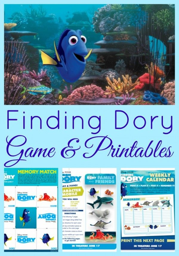 Finding Dory Memory Game, Mobile Craft, and Printable Calendar