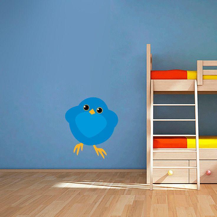 Muursticker Nieuwsgierig vogeltje | Vrolijk die ene saaie muur op met een muursticker! Gemaakt van vinyl en gemakkelijk aan te brengen. Bekijk snel onze collectie! #muur #sticker #muursticker #slaapkamer #interieur #woonkamer #kamer #vinyl #eenvoudig #voordelig #goedkoop #makkelijk #diy #vogel #blauw #cartoon #lief #kinderkamer #meisjeskamer