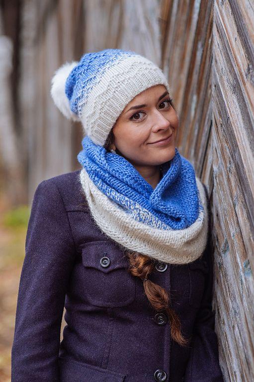 Купить Комплект вязаный «Иней», шапка вязаная, шарф - снуд вязанный - комплект шапка и шарф
