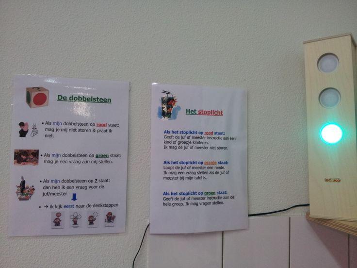 De regels en afspraken rondom het werken met het stoplicht en de dobbelsteen. (zelfstandig werken)