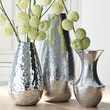 Hammered silver vase: Google Image, Decor Vase, Hammered Aluminum, Mixed Hammered, Hammered Vase, Vase Collection, Flowers Vase, Hammered Silver Vase, West Elm