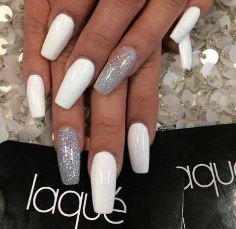 white amp holographic glitter square amp coffin nails