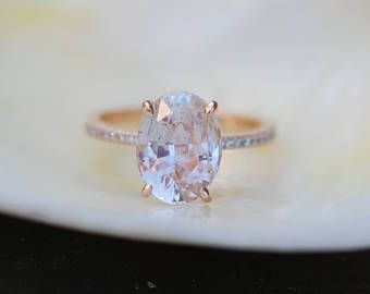 on hold till June 14-Peach Champagne Sapphire Engagement Ring. Oval cut engagement ring. 14k rose gold diamond ring 4ct sapphire ring